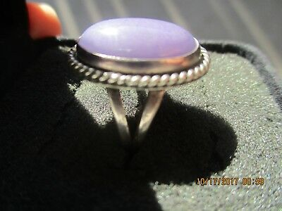 Vintage Navajo Signed Nakai Sterling Silver Ladies Ring W/purple Stone~Size 7