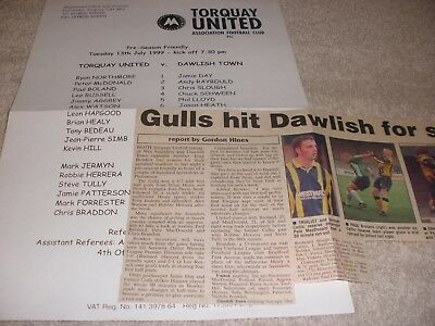 Torquay United v Dawlish Town  13/7/99.  Friendly.  With Newspaper Match Report.