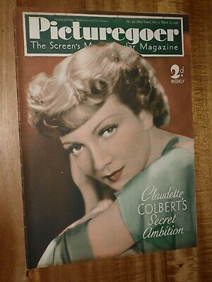 Picturegoer March 12th 1938 Claudette Colbert  Cover