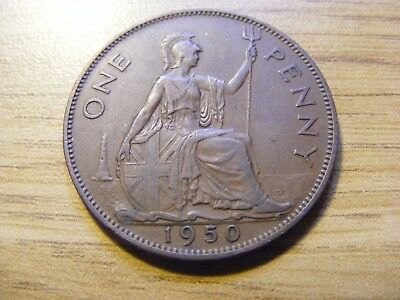 A 1950 George VI One Penny Coin  - Nice Condition - Rare Year