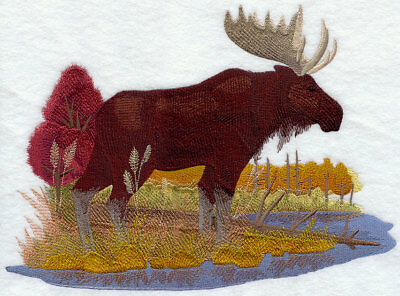 Embroidered Fleece Jacket - Moose in Autumn G6326 Sizes S - XXL