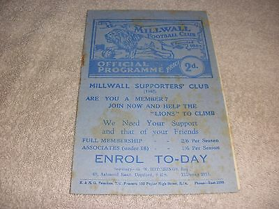 Millwall v Torquay United  6/11/48.  Third Division (South).