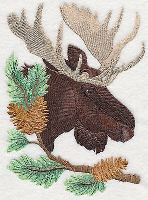 Embroidered Fleece Jacket - Moose in Pine M6255 Sizes S - XXL