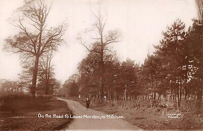 Surrey Mitcham On The Road To Lower Morden Man Walks On Country Lane Photo Card