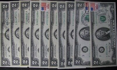 (10) Ten 1976 $2 United States Notes -Green Seal - stamp/cancelled - No Reserve