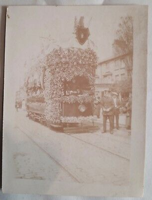 July 1919 B/W Photograph. Tram Covered in Union Jacks/ WWI Victory Parade Street