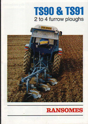Ransomes TS90 & TS91 2 to 4 Furrow Tractor Plough Brochure Leaflet