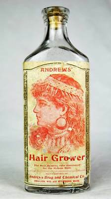 Very Early!  Very Rare!  Andrew's Hair Grower Partially Embossed Medicine Bottle