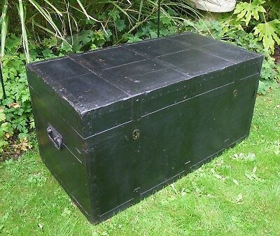 Large Antique Painted Pine Metal Bound Travel Trunk~Blanket Box~Coffee Table
