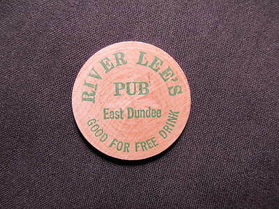East Dundee, Illinois Wooden Nickel token- River Lee's Pub Wooden Drink Coin GRN
