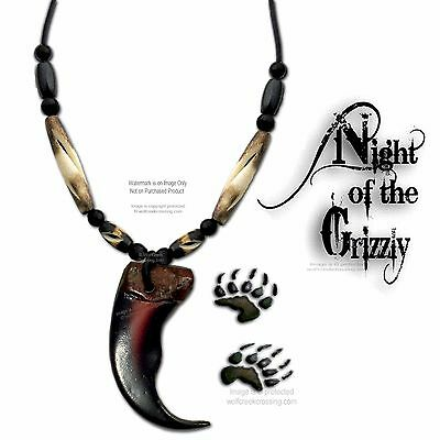 """Bear - Rugged Grizzly Claw Necklace - Carved Bone Bead 24"""" Jewelry Free Ship G3"""