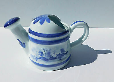 Vintage Porcelain Watering Can Windmill Boat Dutch Blue & White Works ~Music Box