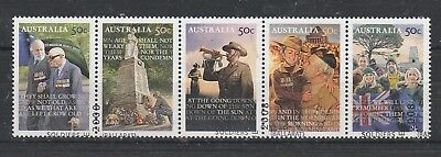 2008 Anzac Day Used Strip Of Five.