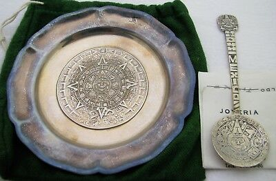 Lot Of Vintage Mexican Silver Sterling Plate And Souvenir Spoon