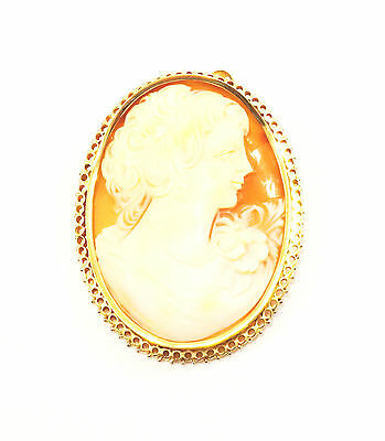 18k Solid Gold Cameo Pendant Broach Pin Vintage Art Nouveau Free Shipping