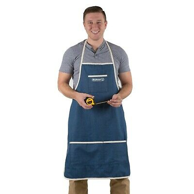 Blue Denim Apron with 3 Pockets for Shop Tools Woodworking Crafts