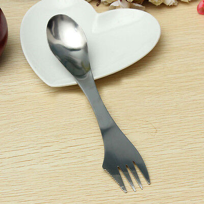 Stainless Steel Portable Outdoor Camping Spoon Fork Cutter Spork 3 in 1 Tool A+