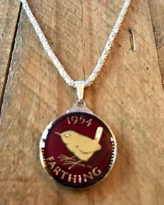 Vintage Enamelled 1954 Farthing Coin Pendant & Necklace. Great Christmas Gift