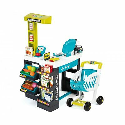 Smoby Kids Children's Toy Supermarket Shopping Centre with Trolley - Blue New