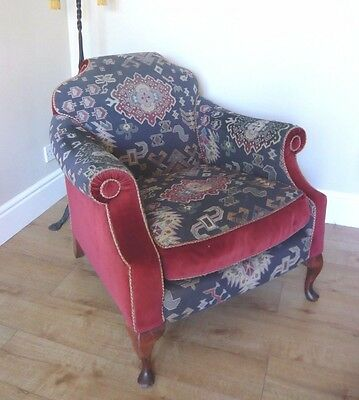 Victorian Style Deep Seated Shaped Armchair