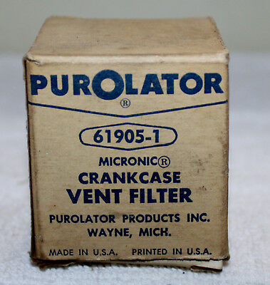 61905-1 Purolator Crankcase Vent Filter (1950's Ford, Lincoln, Mercury Y-Block)!