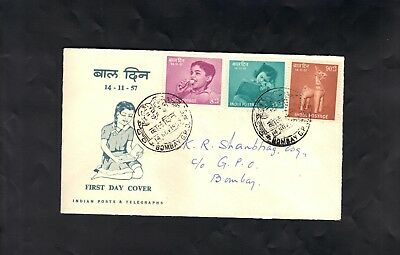 First Day Cover - India 1957 - Children's Day - Bombay Pmk