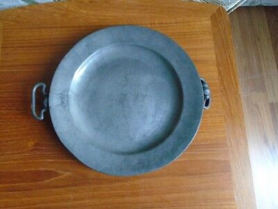 antique pewter warming plate