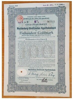 1oo GoldMarks German Bond issued in 1930 by Mecklenburg-Strelitz stadt E xf