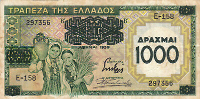 1000 Drachmai Fine Real Overprinted Banknote Greece 1939!pick-111!!