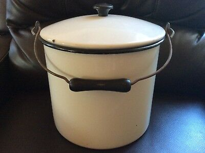 Vintage White Enamel Chamber Pot Slop Bucket Wood Handle and Lid