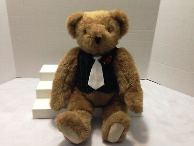 """Vermont Teddy Bear In Tuxedo Vest With Tush Tag 15"""" Jointed Caramel/tan Bear"""