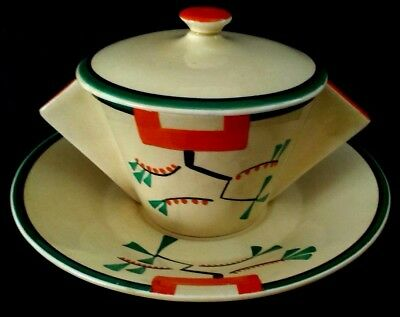 """Clarice Cliff """"Ravel""""Lidded  Conical Soup bowl and Stand"""