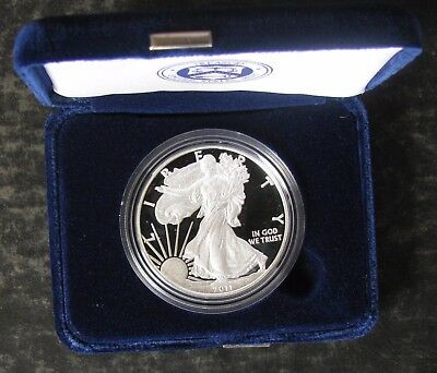 2011-W American Silver Proof Eagle $1 Dollar Coin & Box & COA - No Reserve