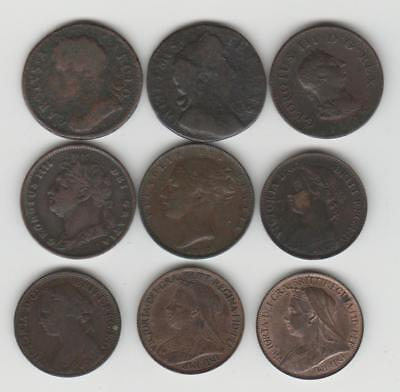 9 x EARLY FARTHING COINS Charles II to Victoria