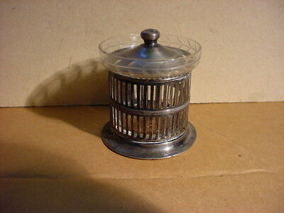 Vintage Sterling and Glass Mustard Pot