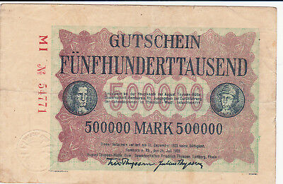 500 000 Mark Very Fine Note From Germany/lohberg 1923!big Sized!