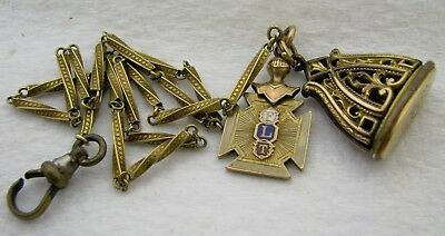Antique Gold Filled Flt Masonic Pocket Watch Chain With Fob