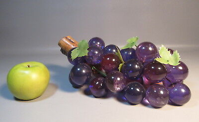 1960 Lucite Acrylic Grape Cluster 30 Huge Grapes Amethyst Purple On Wood Branch