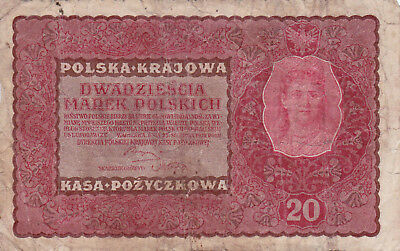 20 Marek Vg Banknote From Poland 1919!pick-26!!