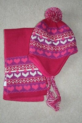 GEORGE Girls Cerise Pink Hat and Scarf Set Age 8-12 years