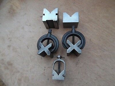 5 x Various Engineers Vee Blocks (3 with clamps)