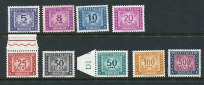 ITALY 1955-60 POSTAGE DUE MNH Set to 500L 9 Stamps cat EURO 200