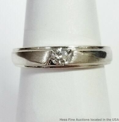 18K White Gold Diamond Vintage 1950s Mens Womens Wedding Band Ring Size 7
