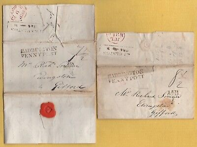 1828 Two WEST MORRISTON Entire Letters: HADDINGTON PENNY POST & EARLSTON Mileage