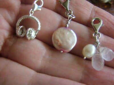 Silver Headphones And 2 Pearl Charms