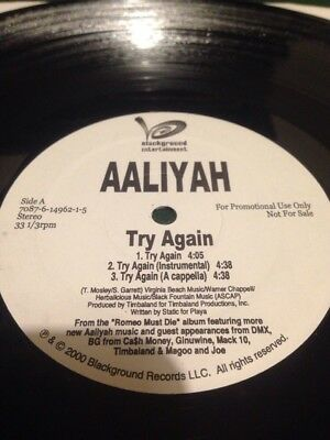 "Aaliyah ‎– Try Again 12"" promo copy RARE WHITE LABEL PROMO Hip Hop RnB"