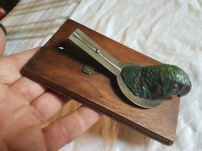 Rare Antique Cold Painted Spelter Parrot Head Letter Clip