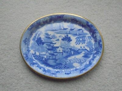 Fine Antique ( Late 18Th / Early 19Th Cent.) Blue And White Pagoda Pattern Plate