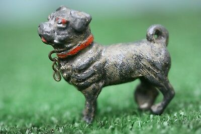 SUPERB 19thC COLD PAINTED SPELTER PUG DOG WITH INTRICATE DETAIL c1880s