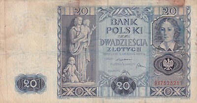 20 Zlotych Vg Banknote From Poland 1936!pick-77